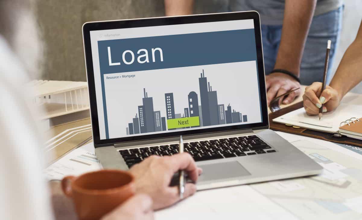 loan application on laptop
